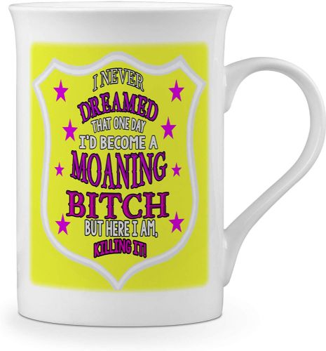 I Never Dreamed That One Day I'd Become A Moaning Bitch. Funny Novelty Gift Fine Bone China Mug